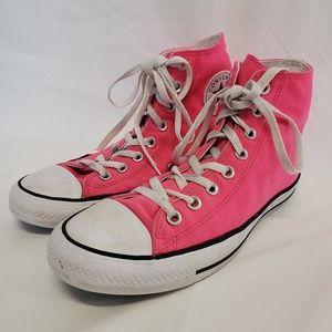 Pink fuscia high top Converse Chucks sneakers